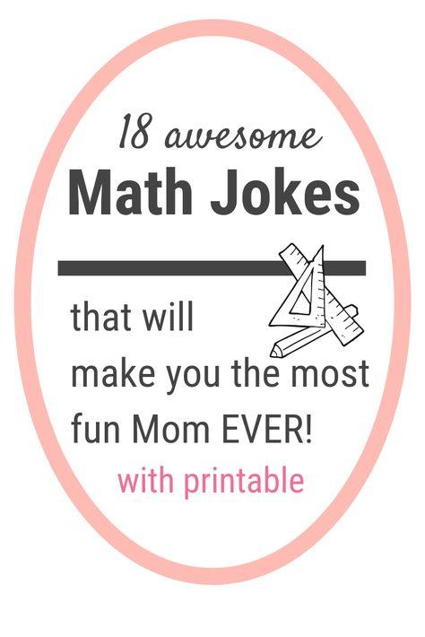 18 really funny math jokes for kids - Calculating Infinity Math Jokes, School Jokes, Math Humor, Teacher Humor, Math Teacher, Math Classroom, Teaching Math, Student Jokes, Classroom Ideas