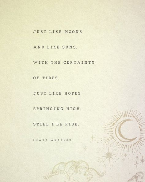 Maya Angelou Still I Rise quote print poetry poster moon and | Etsy