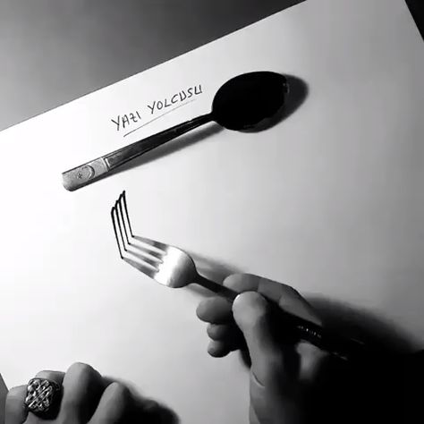 Calligraphy with fork