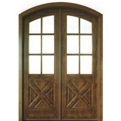 Shop For Dsa Doors Havasu E 17 Arch And Round Top Wood Door Pre Hung 6 Lite Clear Beveled Glass Arch Top Knott Double Entry Doors Entry Doors Wood Entry Doors