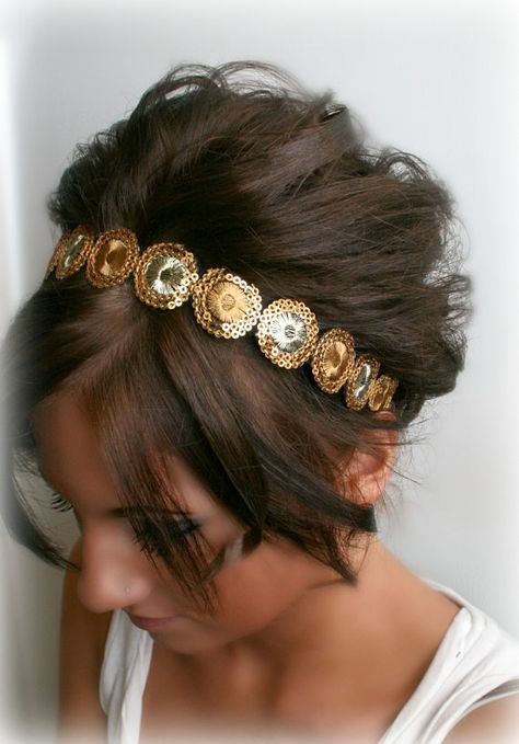 Gold Bohemian Embroidered Sequin Headband by BrassLotus on Etsy