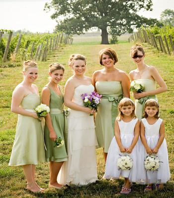 Yellow and Light Purple Bridesmaid Dresses