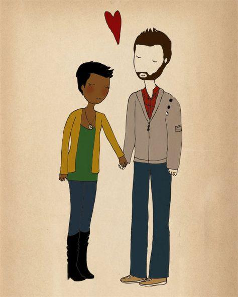 omg, black girl + white guy (with a beard haha) = my dream :)     ~ Nan Lawson.