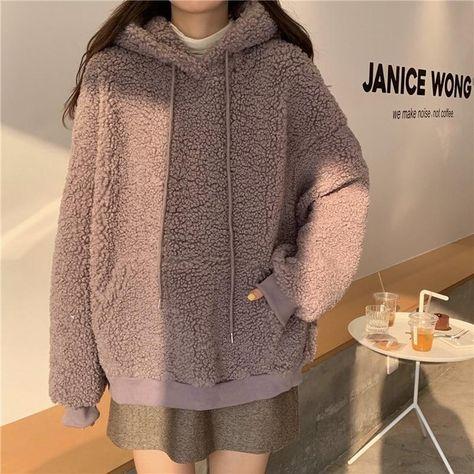 QRWR 2020 Women Hoodie Korean Style Winter Casual Cute Kawaii Warm Sweatshirt Loose Female Pocket Oversized Hoodies for Girls - 02 / L