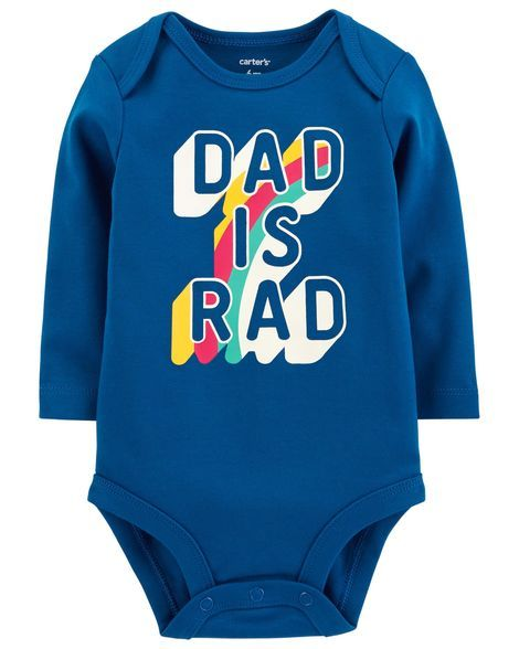 Carters Boys Size 6 18 months Dad is Super Rad Long Sleeve Bodysuit New