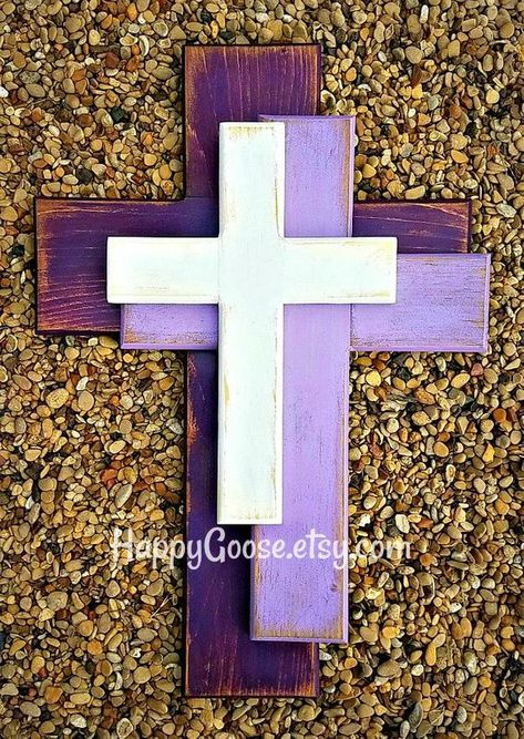 Wall Cross - Wood Cross This OFFSET style is NEW to our line of crosses! It is a Medium Wall CROSS in Antiqued Purple Shades and White (or any colors of your choice). It is very rustic and gorgeous!! Simple, yet interesting! {if you prefer different colors, please leave a note at checkout with Cross Wall Collage, Cross Wall Art, Cross Wall Decor, Crosses Decor, Wall Crosses, Wooden Cross Crafts, Country Wood Crafts, Wood Art, Wall Wood