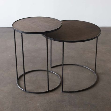 Notre Monde Tabletttisch Rund Baumstamm Metall Glas 2er Set Tabletttisch Tischplatte Rund Tisch