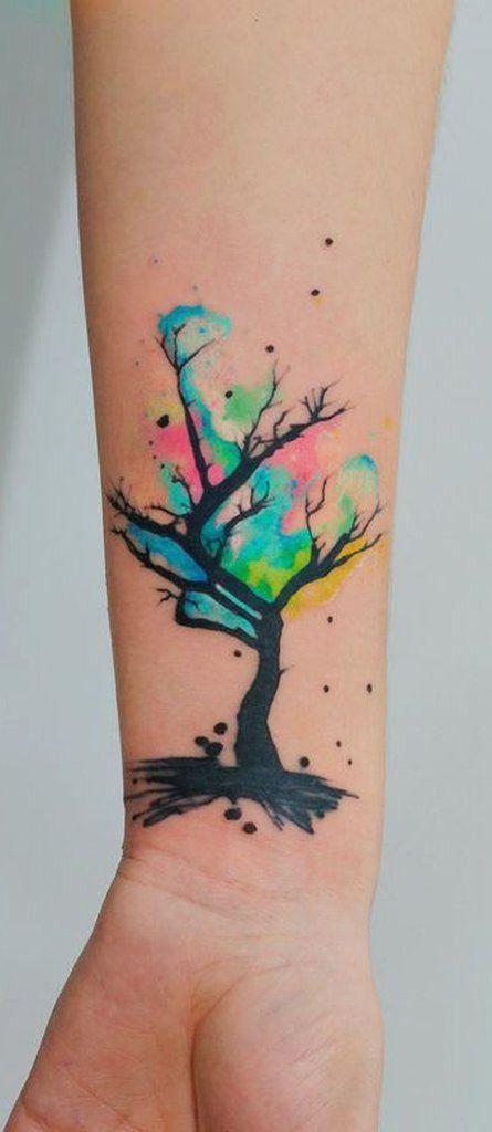 29 Flower Tattoos On Leg In 2020 Tree Tattoo Designs Watercolor