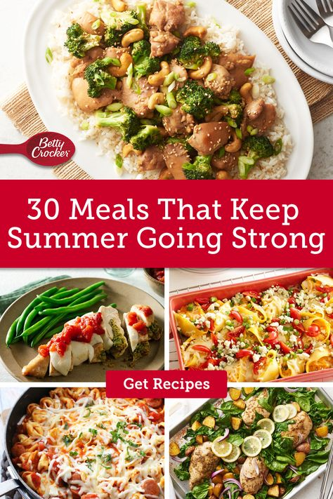 For 30 Meals That Keep Summer Going Strong, try these easy dinner ideas. Pin today for these never-fail meals.