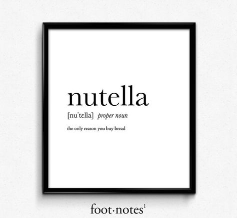 Nutella definition dictionary art print by footnotestudios on Etsy