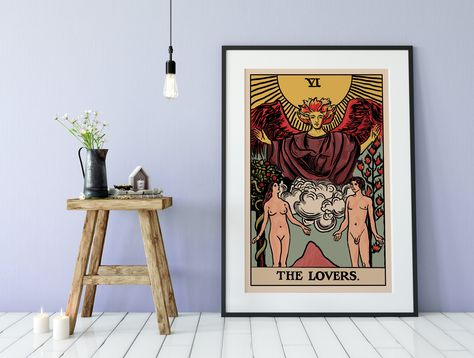 The Lovers - Tarot Card Print - The Lovers Card Poster by Printagrams (No Frame) #divination #Lovers #Tarot #TarotCards #TheLovers #poster #wiccan #magic #TheLoversCard #TheLoversTarot