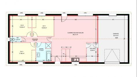 plan de maison plein pied gratuit 3 chambres household plans de - Plan De Maison De 100m2 Plein Pied