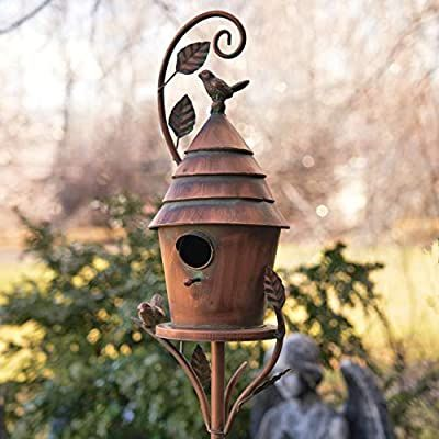 Amazon Com Zaer Ltd Copper Colored Fancy Design Birdhouse Garden Stakes Cylindrical With Cone Roof Garden Out In 2020 Bird House Bird Houses Copper Birdhouses