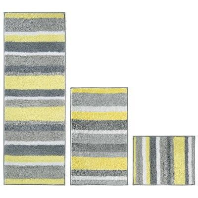 Stripe Bath Rug 60 X21 Gray Yellow Idesign Yellow Gray 60x21 Bath Gray Idesign Longbathroomrugsbathmats Rug Stripe Y In 2020 Rugs Grey Yellow Bath Rugs