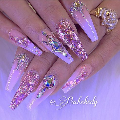 Pink ombré glitter coffin nails with bling pretty nail designs, nail designs bling, simple