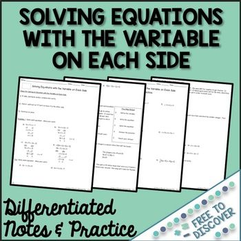 Solving equations with the variable on each side Most Effective