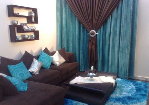 Turquoise And Brown Curtains Living