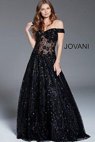 ac0d0d8bb2 Black Sequin Embellished Off the Shoulder Evening Gown 60814 #CorsetDress  #LaceupGown #Jovani #PromDress #Formal