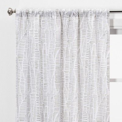 2pc 84 X40 Dashes Light Filtering Window Curtain Panels Gray