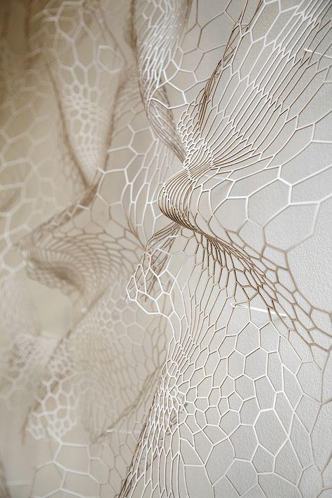'annsunwoo   Memory of Skin   paper, 2013'  textual, shape inspiration. folding - similar to veins in flowers petal.