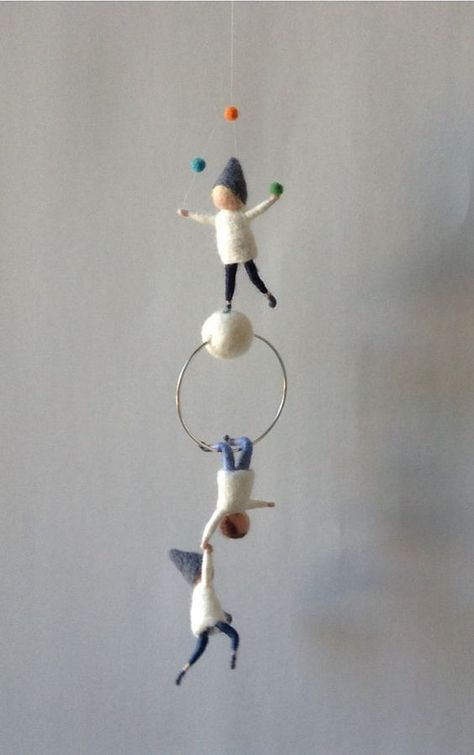 Waldorf inspired needle felted mobile acrobat pixies felted gnomes by Kids Room Design acrobat felted gnomes Inspired Mobile needle pixies Waldorf Waldorf Crafts, Waldorf Dolls, Felt Crafts, Diy And Crafts, Kids Crafts, Wet Felting, Needle Felting, Gnome Tutorial, Diy Bebe