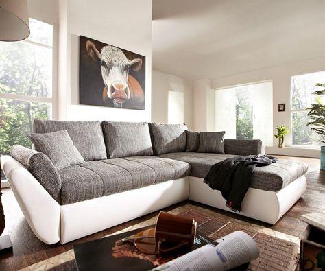 Ecksofa Loana 275x185 Weiss Grau Schlaffunktion Variabel Wohnen Modul Sofa Und Mobel Sofa
