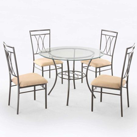 Free 2 Day Shipping Buy Mainstays 5 Piece Glass And Metal Dining
