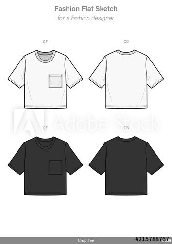 Download Crop Top Tee Shirt Fashion Flat Sketches Technical Drawings Teck Pack Illustrator Vector Template Shirt Sketch Tee Shirt Fashion Crop Top Tee Shirts