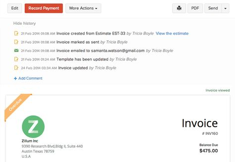 zoho invoice screenshot 2 Zoho Pinterest - how to set up an invoice