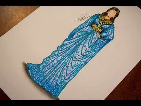 تعليم رسم وتصميم ازياء تعليم رسم الزي المغربي رسم زي عربي Youtube Art Instructions Fashion Sketches Sketches