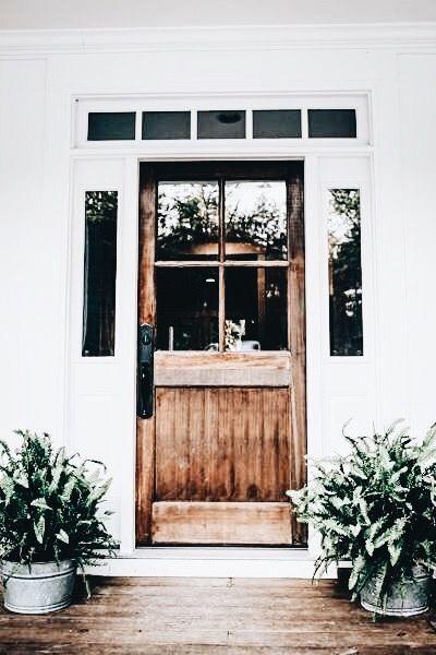Stunning Front Door Wooden Door Glass Panels In Door Landscape Home Inspiration House Living Space House Exterior Beautiful Front Doors Modern Farmhouse
