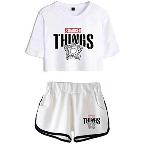Silver Basic Maglietta Sportivo Crop Top /& Pantaloncini con 3D Stampa Stranger Things Tute da Ginnastica per Ragazze
