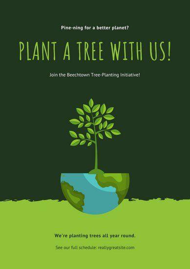 绿色插图环保海报 Campaign Posters Poster Design Software Poster Template
