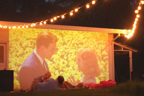 Velcro movie screen to outside of the camper. I could probably do a mini one inside the camper too- for rainy days.