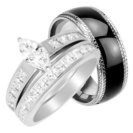 Laraso Co His Hers Wedding Rings Set Cheap Matching Wedding Bands For Him Size 11 And Her Size 5 Walmart Com Cheap Wedding Rings Sets Wedding Ring Sets Wedding Rings