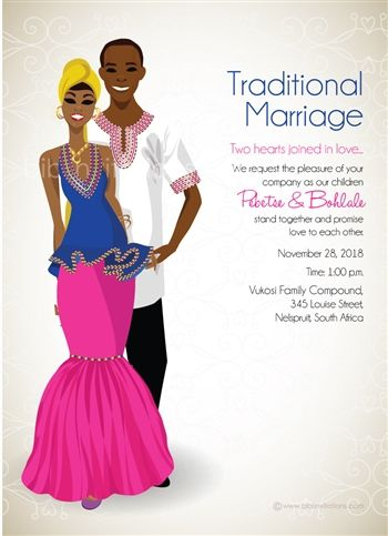 Esihle Xhosa South African Traditional Wedding Invitation In 2019