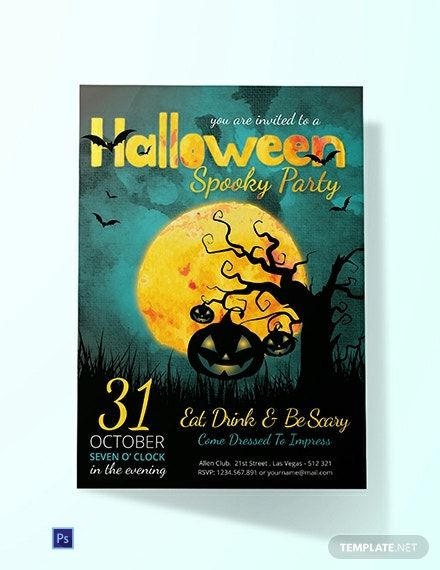 Spooky Halloween Party Invitation Template Free Pdf Word Psd Apple Pages Google Docs Publisher Free Halloween Party Invitations Halloween Party Invitation Template Party Invite Template