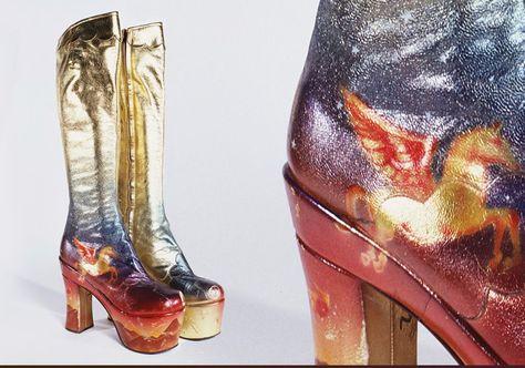Stunning metallic glam rock 70s boots