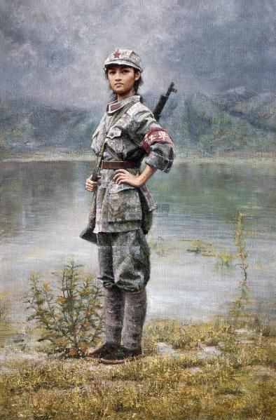 Red Army Poster Girl, painting by Da Zhong Zhang