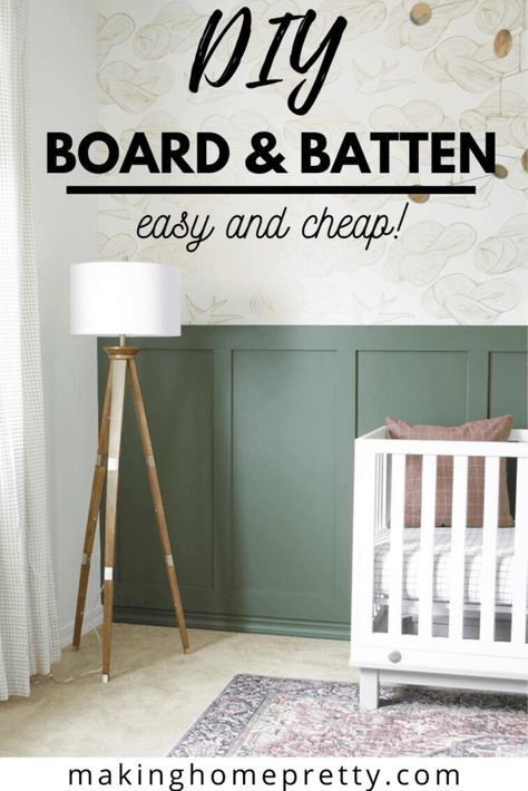 Do It Yourself Baby, Board And Batten, Bedroom Wall, Accent Wall Nursery, Reno, Diy Home Improvement, Textured Walls, Home Accents, Home Projects