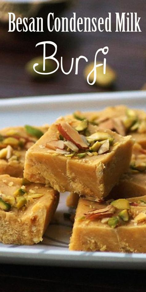 Besan Condensed Milk Burfi Recipe with Step by Step Photos. Indian fudge or dessert made with chickpea flour and condensed milk / milkmaid. A perfect and easy sweet recipe for diwali! Easy Indian Dessert Recipes, Indian Food Recipes, Vegetarian Recipes, Cooking Recipes, Milk Cake Recipe Indian, Easy Indian Sweet Recipes, Easy Indian Snacks, Vegetarian Sweets, Indian Sweets