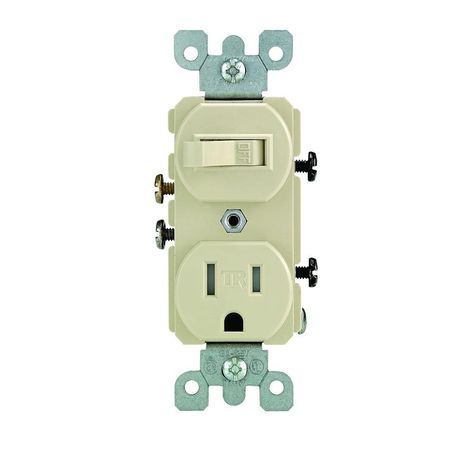 Leviton 15 Amp Tamper Resistant Combination Switch And Outlet Ivory R51 T5225 0is The Home Depot Outlet Wiring Leviton Led Flood Lights
