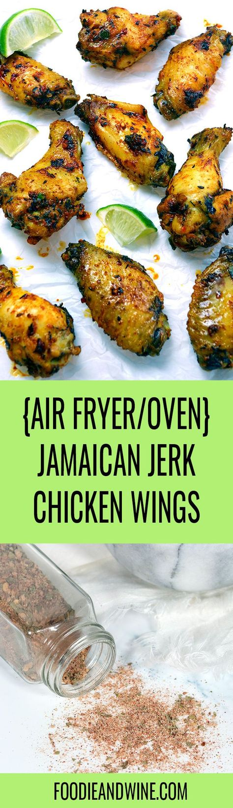 The BEST Jamaican Jerk Chicken Wings! Think tender meat with a crispy exterior and flavorful dry rub. Use homemade Jamaican Jerk Seasoning or store bought. Instructions for the oven and Air Fryer are included! Chicken wing recipes are plentiful- but this jerk chicken recipe is top tier. #chickenrecipes #chickenwingrecipes #jerkchicken #jerkchickenrecipes #gamedayappetizers #gamedayappetizers #airfryerchicken #airfryerrecipes #healthyairfryerrecipes #easyairfryerrecipes #jerkchickenseasoning