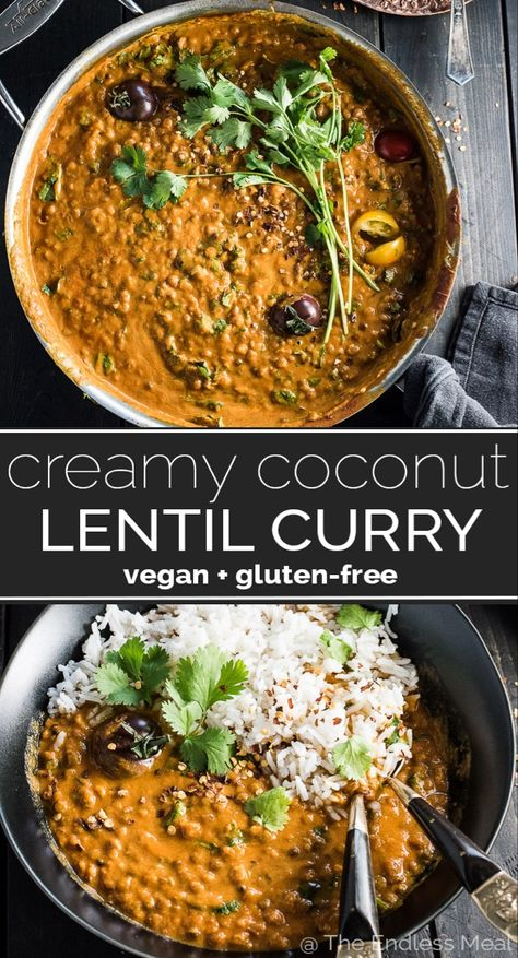 This easy to make Creamy Coconut Lentil Curry is a healthy vegan recipe that makes a perfect Meatless Monday dinner recipe. It takes less than an hour (mostly hands-off time) to make and is packed… Vegan Dinner Recipes, Vegan Dinners, Veggie Recipes, Indian Food Recipes, Whole Food Recipes, Cooking Recipes, Healthy Recipes, Easy Lentil Recipes, Dinner Healthy