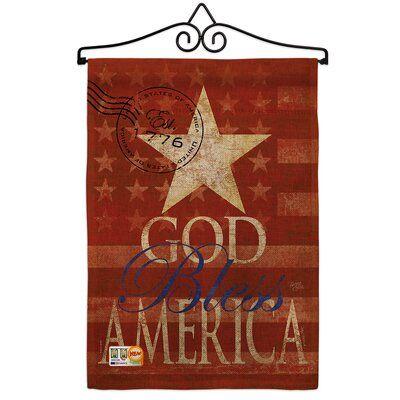 Breeze Decor God Bless America American Patriotic 2 Sided Polyester 1 6 X 1 1 Ft Flag Set In 2020 God Bless America Metal Flag Decor