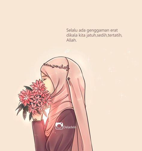70 Gambar Kartun Hijab Lagi Sedih HD