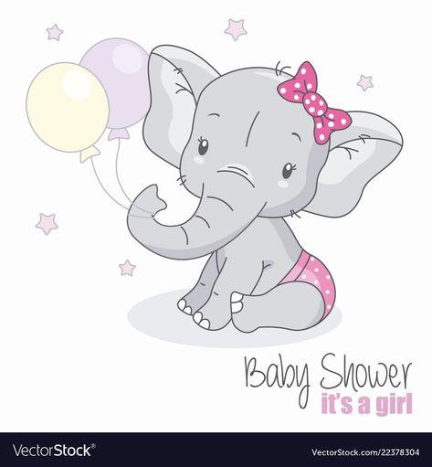 Baby shower girl Royalty Free Vector Image - VectorStock