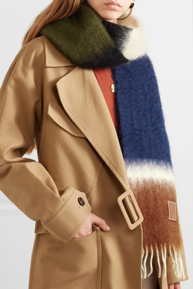 Loewe Fringed Striped Mohair And Wool Blend Scarf Net A Porter Com Mantas