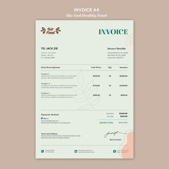 Free Psd Invoice Template Concept For Coffee Shop Healthy Recipes Invoice Template Bio Food