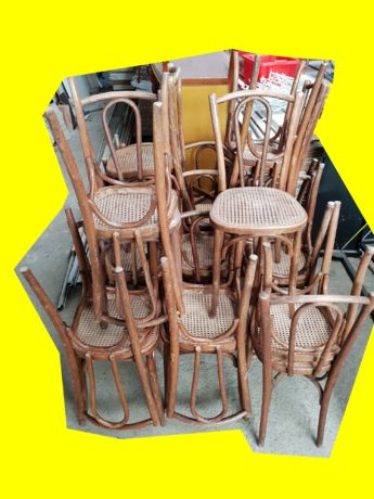lot de 24 chaises baumann assise cannee